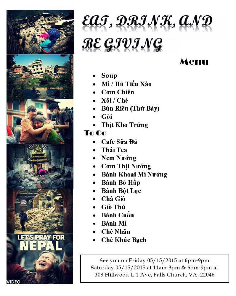 Support Nepal - Menu