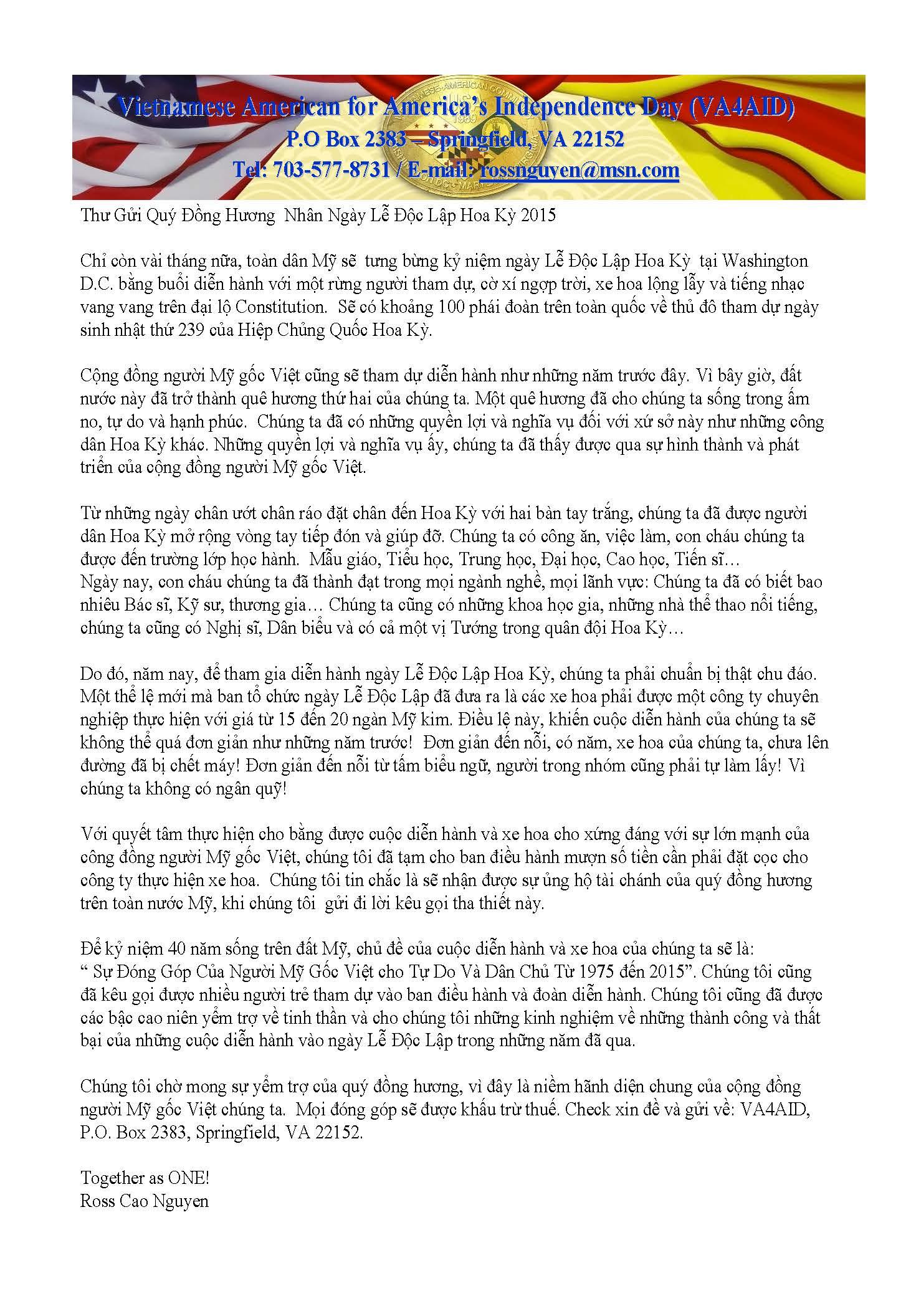 VA4AID2015 Fundraising Letter (Vietnamese)