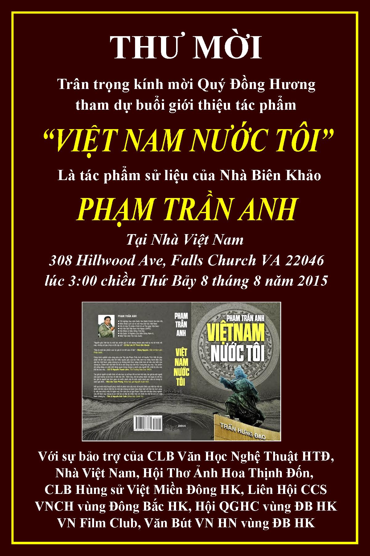 Thu Moi Ra Mat Sach Viet Nam Nuoc Toi - Pham Tran Anh